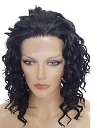 Кружева фронт Стильный Средний длинные волнистые Термостойкие синтетический парик # 1B