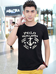 Fhonier Мужская Черный V шеи Цветочный принт футболка