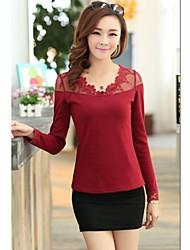 Merletto sottile maglietta grande fondo cortile stile coreano delle donne JIANFANSU
