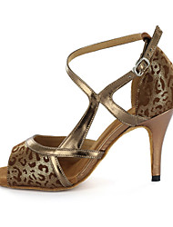 Women's Leatherette Upper Modern Dance Shoes Sandals With Buckie Customizable