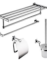 Недорогие -4-упакованы твердой латуни аксессуары для ванной Комплект Полка вешалка для полотенец / Ванная комната / Бумага держатель / держатель щетки