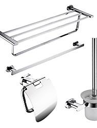 Недорогие -4-упакованы твердой латуни аксессуары для ванной устанавливает, Полка для полотенец Бар / Ванная комната / рулон держатель / держатель щетки