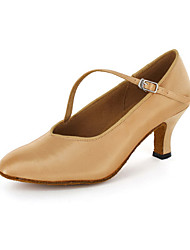 cheap -Women's Modern Shoes / Ballroom Shoes Leatherette Heel Chunky Heel Customizable Dance Shoes Brown