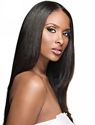cheap -Virgin Human Hair Lace Front Wig Brazilian Hair Straight / Wavy / Silky Straight Wig 18 inch Natural Hairline / African American Wig / 100% Hand Tied Women's Human Hair Lace Wig