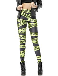 PinkQueen® Women's Spandex Green Letter Printed Leggings