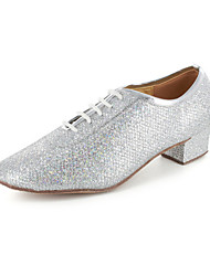 Women's Dance Shoes Modern/Ballroom/Practice Shoes Leatherette Chunky Heel Silver/Gray