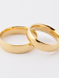 cheap -Women's Couple Rings Golden Titanium Steel Gold Plated Round Fashion Daily Casual Costume Jewelry