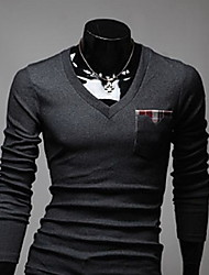 Herren T-shirt-Einfarbig Freizeit Strickwaren Lang-Schwarz / Weiß / Grau