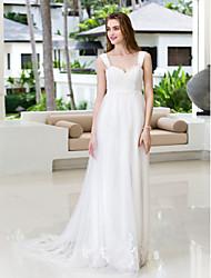 Linha A Cauda Corte Chiffon Tule Vestido de casamento com Apliques de LAN TING BRIDE®