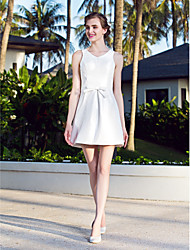 cheap -A-Line V Neck Short / Mini Nylon Taffeta Made-To-Measure Wedding Dresses with Bowknot by LAN TING BRIDE®
