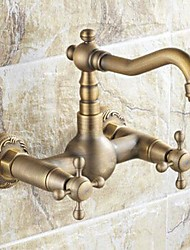 Traditional Bar/­Prep Wall Mounted Ceramic Valve Two Holes Two Handles Two Holes Antique Brass , Kitchen faucet