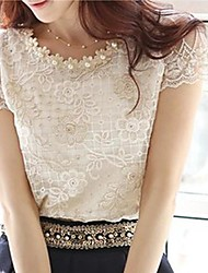 cheap -Women's Daily Casual Summer Blouse,Jacquard Round Neck Short Sleeves Polyester Thin