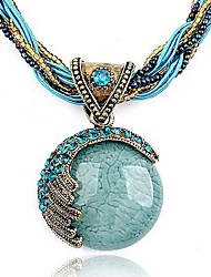 cheap -Women's Round Bohemian Fashion European Pendant Necklace Turquoise Crystal Rhinestone Resin Pendant Necklace , Party Birthday Gift Daily