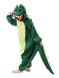 Kigurumi Pajamas Dinosaur Leotard/Onesie Festival/Holiday Animal Sleepwear Halloween Dark Green Patchwork Polar Fleece Kigurumi For Unisex