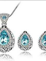 cheap -Crystal Austria Crystal Jewelry Set Earrings / Necklace - Red / Green / Navy Jewelry Set For Wedding / Party / Daily