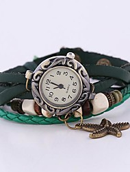 Coway New Women's Round Dial Green Leather  Band Quartz Analog  Braceiet Watch Cool Watches Unique Watches Strap Watch