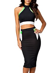 Donna Halter Neck Crop Top & Pencil Skirt