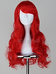 Perucas de Cosplay The Little Mermaid Ariel Vermelho Médio / Encaracolado Anime Perucas de Cosplay 65 CM Fibra Resistente ao Calor