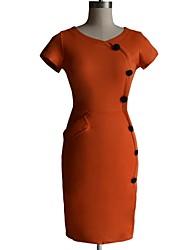 Kvinder rund hals Slim Erhverv Blyant Bodycon Formel Aften Party Dress