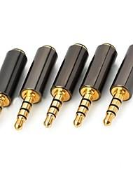 baratos -Macho de 3,5 mm para 3,5 mm Feminino Áudio Adaptadores 5PCS