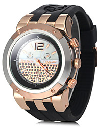 cheap -Unisex Rose Gold Big Round Dial Silicone Band Quartz Analog Wrist Watch (Assorted Colors) Cool Watches Unique Watches