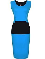 Robe Aux femmes Gaine Grandes Tailles / Soirée / Travail / Décontracté , Couleur Pleine Col en U Au dessus du genou Polyester