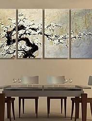 Lærredstryk Art Plum Blossom Dekoration Sæt af 4