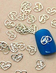 cheap -200PCS Love Heart Design Slice Metal Nail Art Decoration