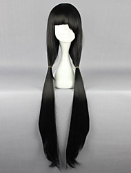 cheap -Cosplay Wigs Date A Live Kurumi Tokisaki Black Long Anime Cosplay Wigs 100 CM Heat Resistant Fiber Female