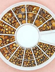 Chiodo ruota 1200pcs formato misto 3d rotonde borchie in lega d'oro decorazione di arte
