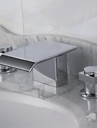 abordables -Contemporain Baignoire romaine Cascade with  Soupape en laiton Deux poignées trois trous for  Chrome , Robinet de baignoire