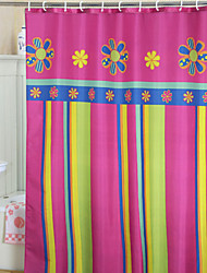 cheap -Vivid Colorful Floral And Stripe Shower Curtain