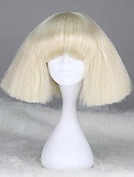 Women Synthetic Wig Straight White With Bangs Black Wig Halloween Wig Carnival Wig Natural Wigs Cosplay Wig Costume Wig
