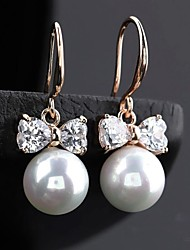 cheap -Fashionable Round Pearl Bowknot Earrings (More Colors) Elegant Style