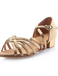 Kids' Latin Satin Sandal Buckle Chunky Heel Gold Non Customizable