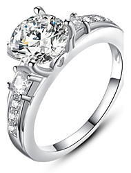 cheap -Ms Beautifully Minimalist Fashion Diamond Platinum Plated Single Ring