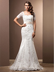 Mermaid / Trumpet Sweetheart Sweep / Brush Train Lace Wedding Dress with Beading Appliques Sash / Ribbon by LAN TING BRIDE®