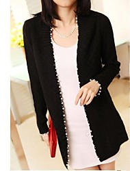 abordables -New Pearl Recortar Knit Cardigan Sweater Mujeres
