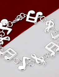 cheap -Chain Bracelet Unique Design Cute Party Fashion Brass Silver Plated Others Music Notes Jewelry Party Gift Valentine Costume Jewelry