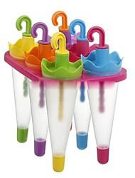 """6 Cells Paraply Ice Cream Bakke Cube Mould Mold med Stick (tilfældig farve), Plastic 6.4 """"x4.4"""" X6 """""""
