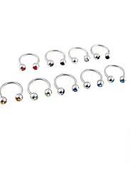 lureme®316l chirurgico cristallo titanio acciaio u orecchini singolo prigioniera multiuso (colore casuale)