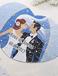 Personalized Heart Shaped Jigsaw Puzzle - Happy Wedding
