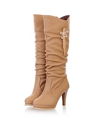 povoljno -Žene Cipele Umjetna koža Jesen Zima Stiletto potpetica 35.56-40.64cm Čizme do koljena Kopča za Formalne prilike Badem Crna Bijela