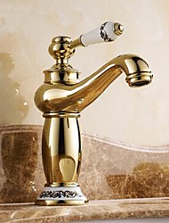 cheap -Traditional Centerset Ceramic Valve One Hole Single Handle One Hole Ti-PVD, Bathroom Sink Faucet