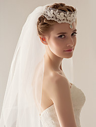 Wedding Veil Two-tier Fingertip Veils Headpieces with Veil 47.24 in (120cm) Tulle White IvoryA-line, Ball Gown, Princess, Sheath/ Column,