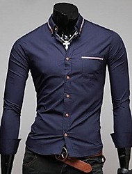 Herren Hemd-Einfarbig Büro Baumwollmischung Lang Blau
