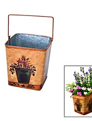 Wrought Iron Rustic Style, Square Steel Drum  Flower Vase