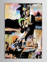 cheap -Hand-Painted People Vertical, Modern Traditional Canvas Oil Painting Home Decoration One Panel