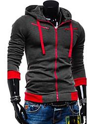 preiswerte -Herren Hoodie-Jacke Sport Einfarbig Baumwolle Langärmelige