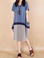 Недорогие -Женская Круглый Лоскутная Контрастность Цвет Свободный Плюс размер платья